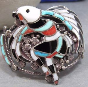 Vintage J Lucio Zuni Inlay Cuff Eagle Dancer Turquoise Coral MOP Sterling Silver | eBay