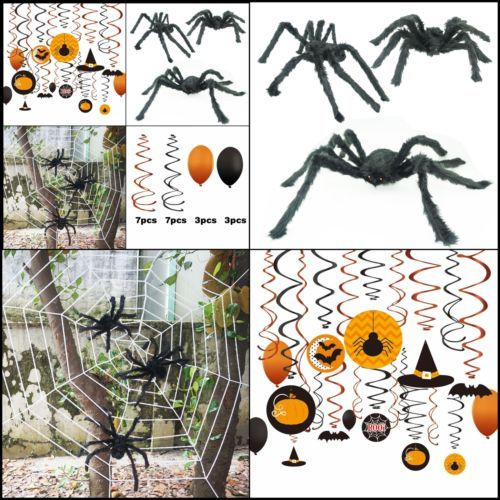 Amazing Halloween Decoration Giant Spiders Ceiling Swirls With Images Halloween Spider Web Halloween Halloween Decorations