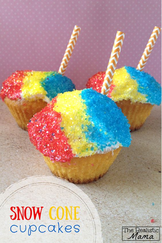Snow cone cupcakes for kids -- love this idea for a birthday party or even just a fun weekend treat!