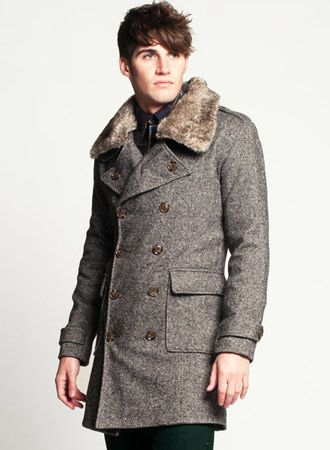 Men's Tweed Wool Pea Coat with Detachable Fur Collar | Stylish