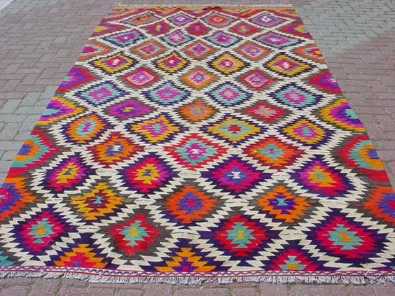 Modern Bohemian Turkish Kilim Area Rug Carpet Handwoven