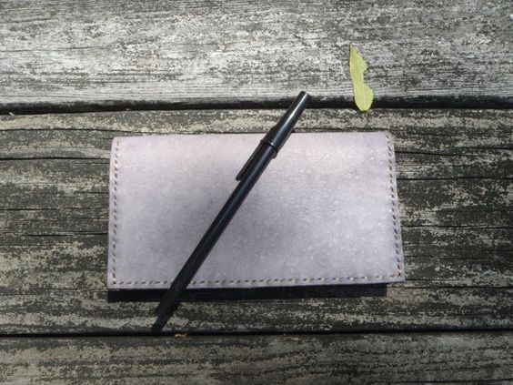 Handmade Purple Leather Checkbook Cover by CSherwoodLeather