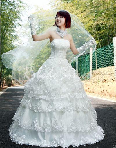Robe de Mariée de Luxe-Une ligne au sol puis-princesse bustier sans manches des robes de mariée blanches