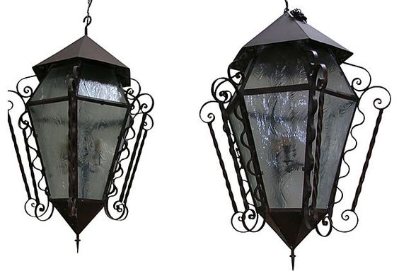 Spanish Wrought Iron Lanterns, Pair