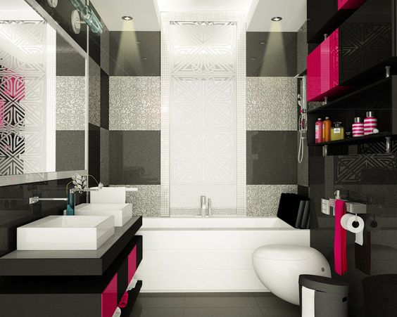 Hot Pink Black Bathroom Design Bathroom Pinterest Hot Pink