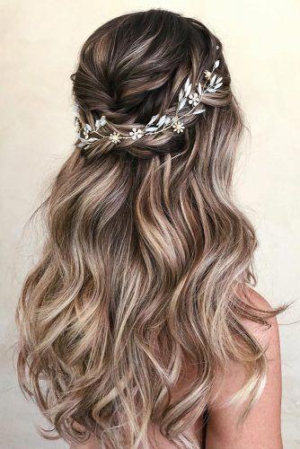 Nice Brown Wedding Hairstyle Longhair Wedding Hair Pieces Hair Styles Wedding Hair Half