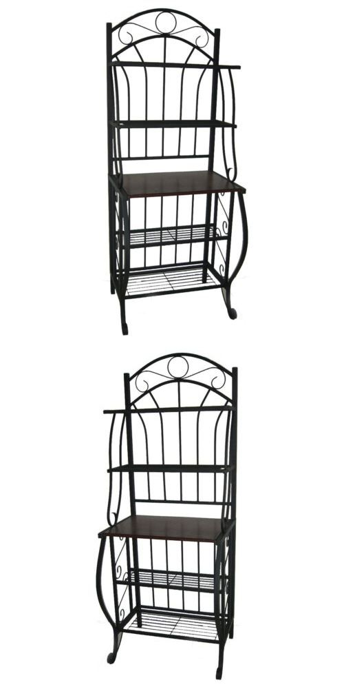 Details About Black Baker S Rack Bakers Metal Wood Table Top
