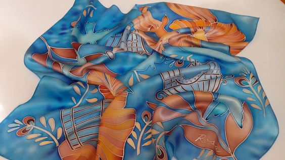 blue silk scarf square Freedom turquoise scarf gift by Batikrosa