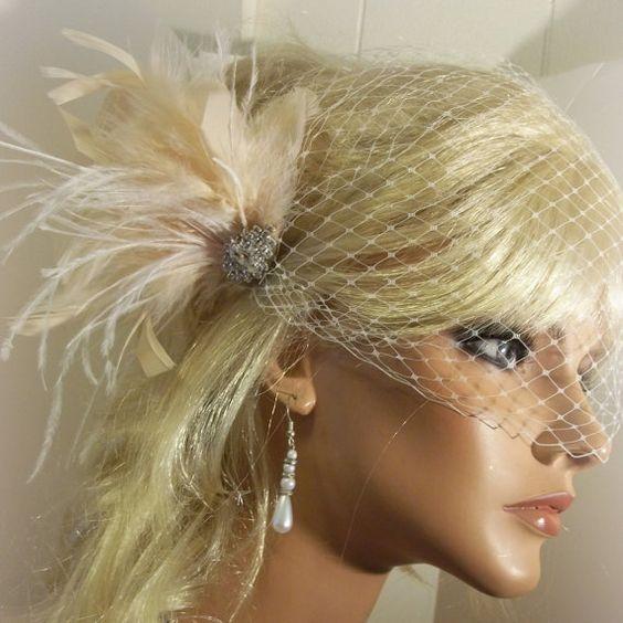 Check out this item in my Etsy shop https://www.etsy.com/listing/229090279/wedding-fascinator-bridal-veil-wedding