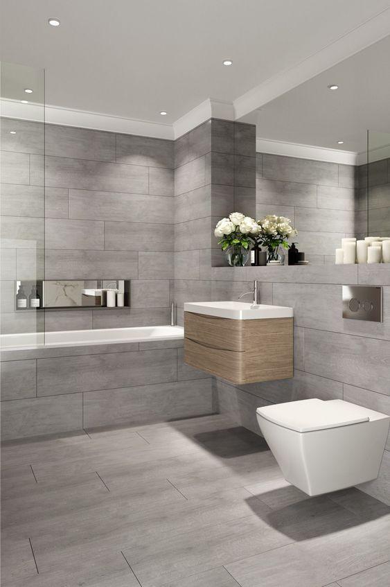 Popular Flooring 2021 Matte Bathroom Ceramic Tiles Bathroom Interior Design Wood Effect Floor Tiles Grey Bathroom Tiles