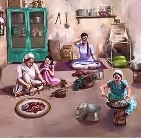 زمان كان المطبخ فيه دولاب واحد وفيه كل المواعين ويطبخوا ليل نهار والآن البيت فيه مطبخين والأك Childhood Memories Art Indian Art Paintings Indian Paintings