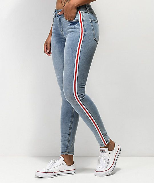 Womens Ladies High Waisted Tight Fit Contrast Stripes Stretchy Jegging Leggings