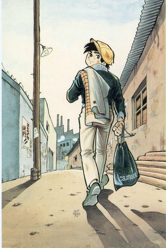 ハンチング帽をかぶってコートを肩にかけて歩いている矢吹丈のあしたのジョーの壁紙