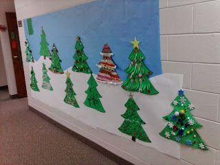 Christmas tree decorations for school hallway | Bulletin ...