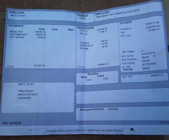 Carlos Tevez payslip leaks on Twitter, he earns more money than you - pay advice slip