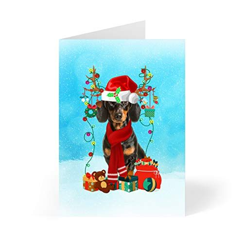 Dachshund Christmas Holiday Greeting Cards 5 X 7 Inches Set Of 10 Printymotion Dachshund Dachshund Christmas Cards St Bernard Christmas Holiday Greetings
