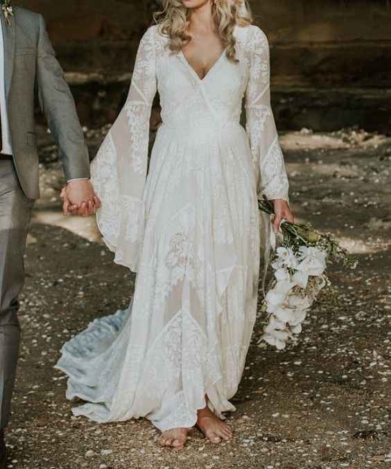 Fashion Long Sleeve Wedding Dress Long Length Dresses Short Vintage We Grizzlehair In 2020 70s Wedding Dress Bell Sleeve Wedding Dress Backyard Wedding Dresses