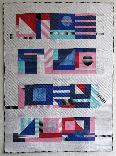 Luna Lovequilts - Flashback - A quilt inspired by designer and Street Artist Camille Walala