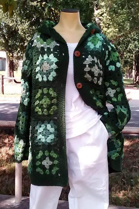 Granny Square Style Coat with Hood