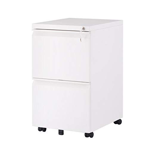 File Cabinet Mobile 2 Drawer Pedestal Filing Cabinets Lockable With Key Rolling Casters Fully Assembled For Home Office Modern Vertical Design Hanging Folders A