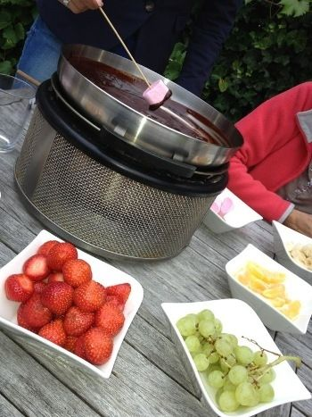 Chocolate fondue on the Cobb Outdoor Cooking System.