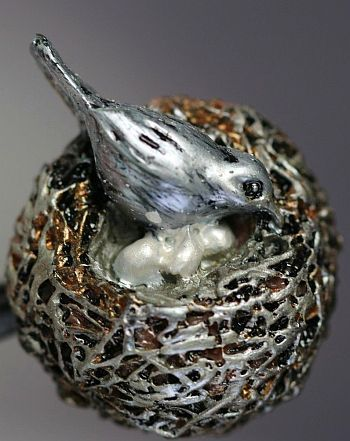 Metal Button of a Bird on a Nest full of Eggs. Found on German Ebay / Antique…