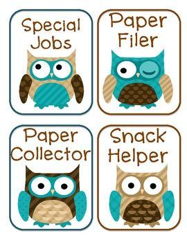 Free Owls Classroom Jobs