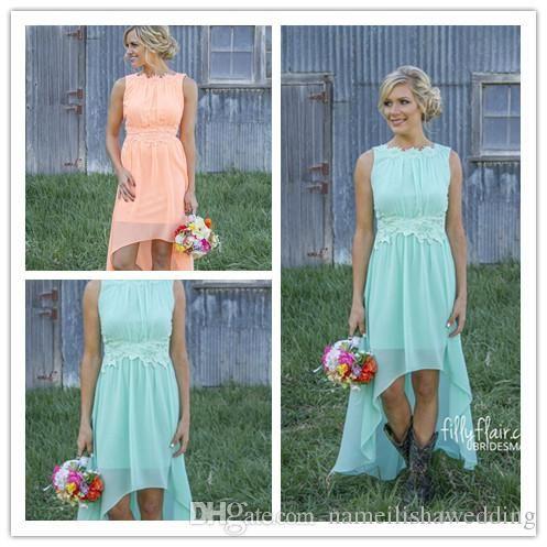 rustic high low bridesmaid dresses