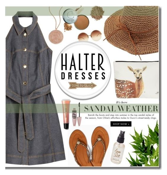 """""""Denim Halter Dress"""" by daizydarling ❤ liked on Polyvore featuring Boutique Moschino, Soma, Astley Clarke, Linda Farrow, Moon Juice, Universal Lighting and Decor, Olivine, Maybelline and Bobbi Brown Cosmetics"""