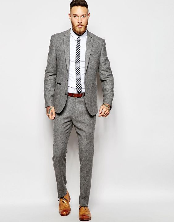 Grey suit , men's fashion | Men in Suits | Pinterest | Wool, Wool