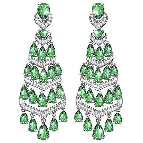 Noël Bijoux Lady Poire Vert émeraude Or Blanc Plaqué Dangle Earrings