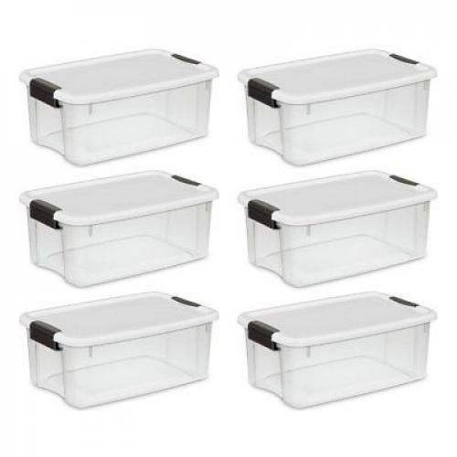 6 Set Large Plastic Storage Tote Container Clear Stackable Box