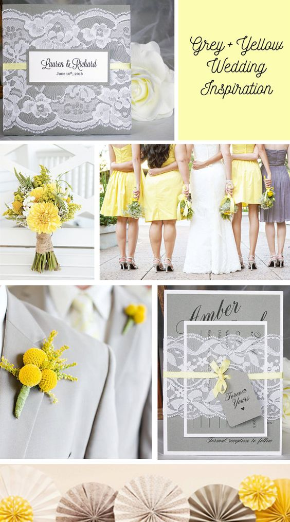 Grey and yellow wedding inspiration - grey and yellow lace wedding invitations…