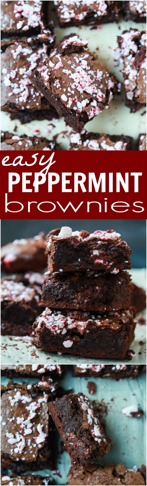 The BEST Peppermint Brownies made from scratch with a secret ingredient to make them extra fudgy then topped with crushed candy canes for the perfect holiday finishing touch!   joyfulhealthyeats.com