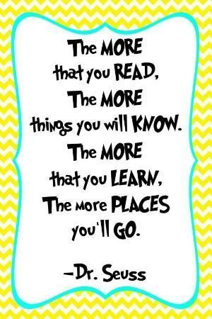Classic Dr. Seuss quotes about reading and more for teachers, librarians, parents, and kids!
