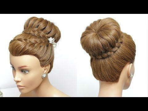 Flower Braided Bun Hairstyle Easy Updo Hair Tutorial Youtube Braided Hairstyles Updo Long Hair Tutorial Easy Hairstyles