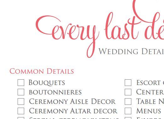 Wedding Detail Checklist | Wedding planning, Wedding and Wedding ...