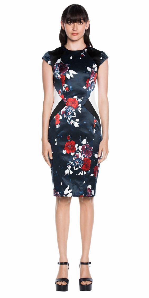 Dresses | Spliced Floral Cap Sleeve Dress