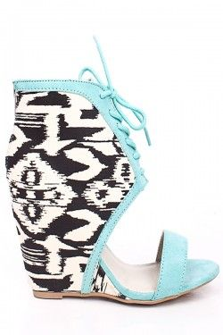 MINT SUEDE FABRIC DESIGN LACE UP OPEN TOE WEDGE SANDALS $35.99