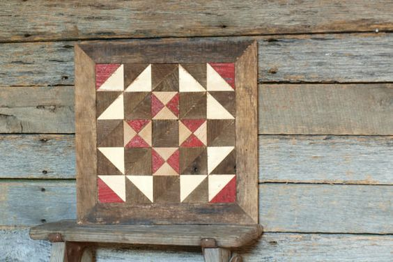 wooden quilt block, salvaged barn quilt, flying geese quilt block - 13 ...