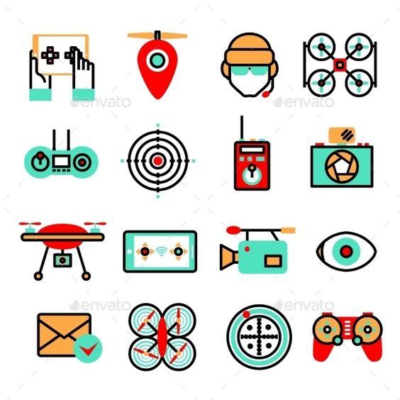 Drones Icon Set #design Download: http://graphicriver.net/item/drones-icon-set/9815725?ref=ksioks