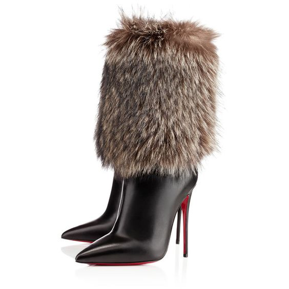 """Christian Louboutin """"Canichissima"""" strong pointed toe and sky high heel, fur-covered boots w/red bottoms"""