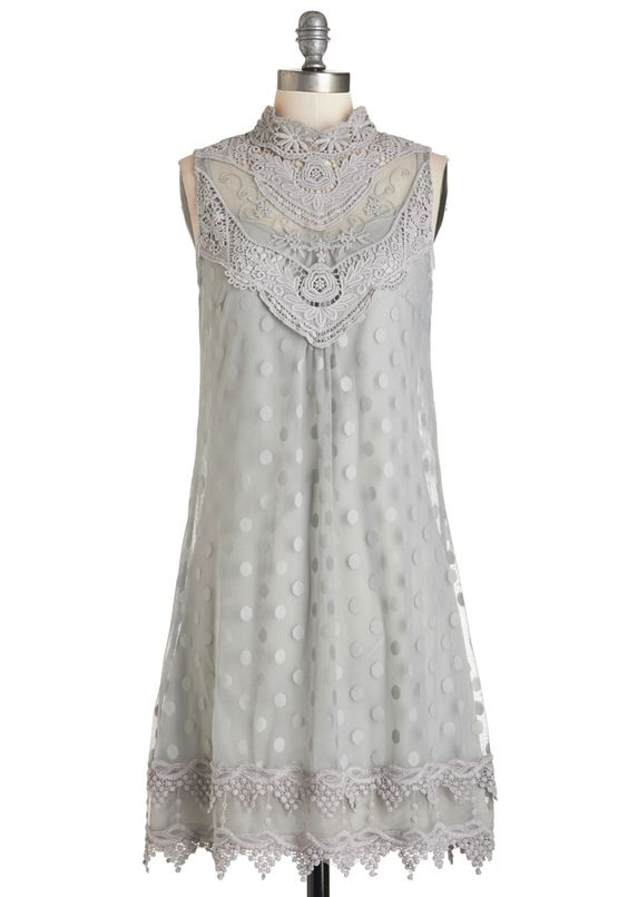 Elegant Inspiration Dress. Inspired by the grandeur of today's photoshoot mansion setting, you model this gorgeous shift dress and pose for the cameras like never before! #grey #modcloth