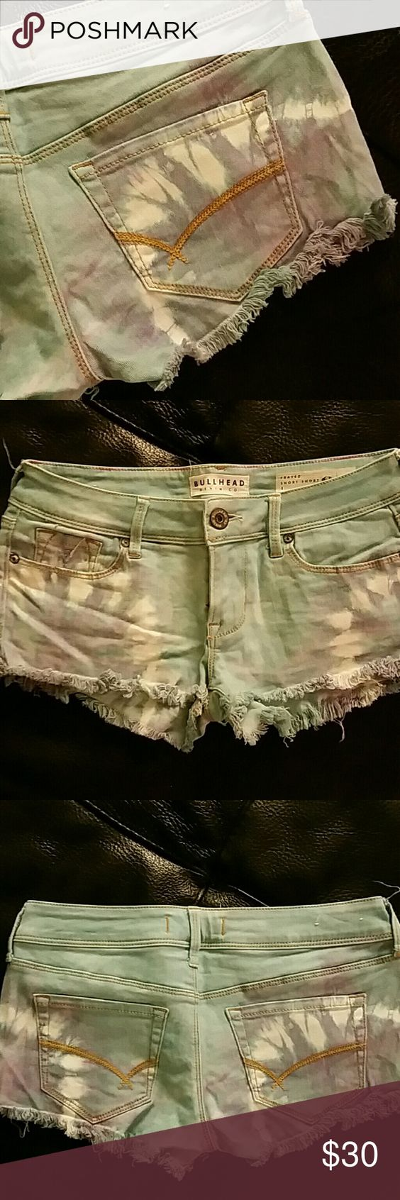 NWOT Bullhead tie dye shorts NWOT light blue jean shorts. Tie dyed purple and white. Absolutly love them, just too small so I recently bought a larger pair I found! 2 front hand pockets with smaller in right side. Two back pockets. Botton and zipper closer. 5 belt loops. 28 inch waist. 1 and half inch inseam. 6 and half inch rise. Smoke/pet free environment. Follow me to c the many upcoming items. Bullhead Shorts Jean Shorts