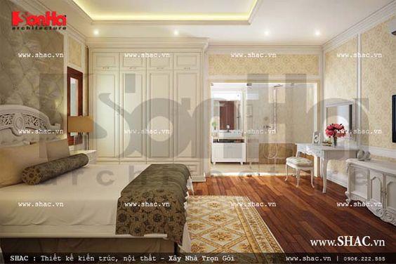 Không gian phòng ngủ cổ điển nhẹ nhàng với gam màu sáng mang lại giấc ngủ êm ái