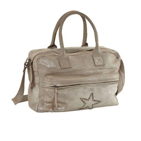 Handtasche, Metallic-Schimmer, Veloursleder Vorderansicht