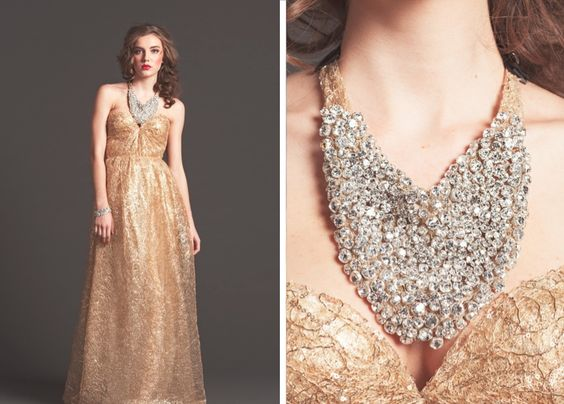Gold gown and dramatic statement necklace