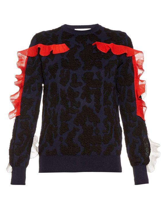 Ruffle-trimmed animal-jacquard sweater   Toga   MATCHESFASHION.COM