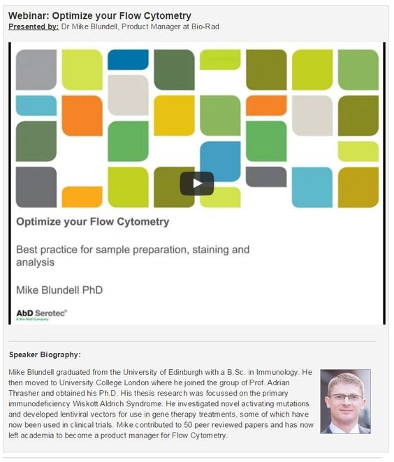 Webinar: Optimize your Flow Cytometry Best practice for sample preparation, staining and analysis