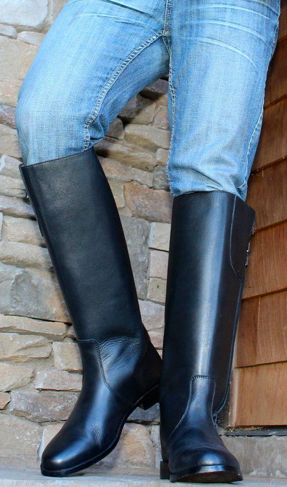 fetish men leather boots take